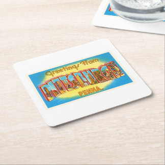 Pittsburgh Pennsylvania PA Vintage Travel Souvenir Square Paper Coaster