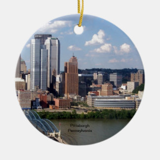 Pittsburgh, Pennsylvania Skyline Ceramic Ornament