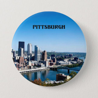 Pittsburgh, Pennsylvania skyline photograph 7.5 Cm Round Badge