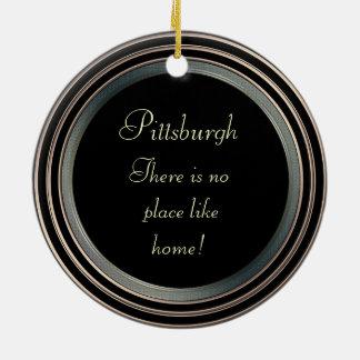 Pittsburgh-Photo- Ornament-2 sided Round Ceramic Decoration