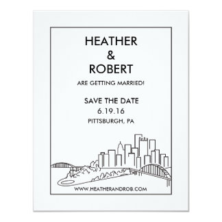 Pittsburgh Save the Date - Skyline (black) Card