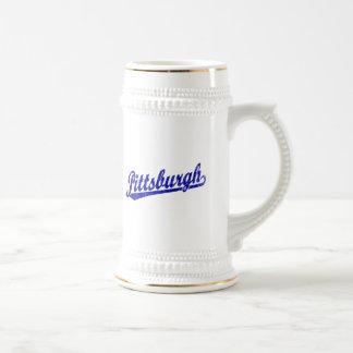 Pittsburgh script logo in blue mug