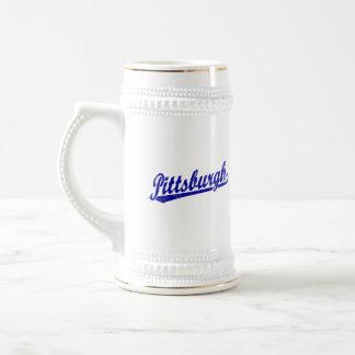 Pittsburgh script logo in blue mugs