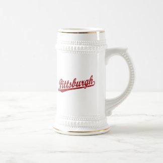 Pittsburgh script logo in red mugs
