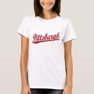 Pittsburgh script logo in red T-Shirt