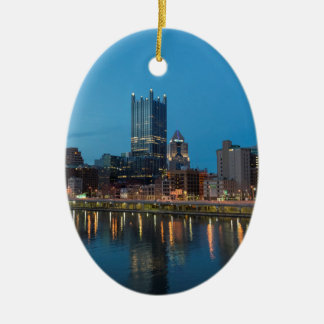 Pittsburgh Skyline at Dusk Ceramic Oval Decoration