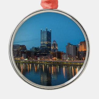 Pittsburgh Skyline at Dusk Silver-Colored Round Decoration