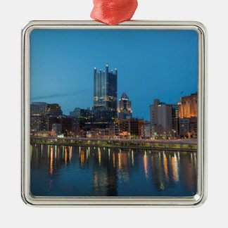Pittsburgh Skyline at Dusk Silver-Colored Square Decoration