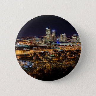 Pittsburgh Skyline at Night 6 Cm Round Badge
