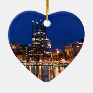 Pittsburgh Skyline at Night Ceramic Heart Decoration