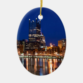 Pittsburgh Skyline at Night Ceramic Oval Decoration