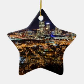 Pittsburgh Skyline at Night Ceramic Star Decoration