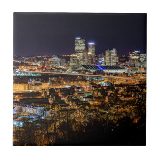 Pittsburgh Skyline at Night Ceramic Tile
