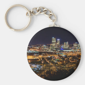 Pittsburgh Skyline at Night Key Ring