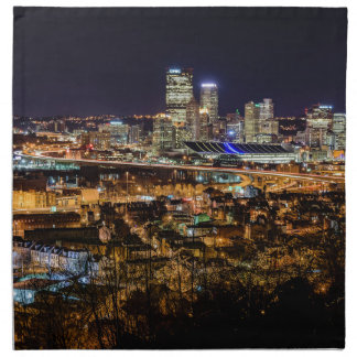 Pittsburgh Skyline at Night Napkin