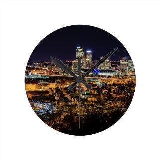 Pittsburgh Skyline at Night Round Clock