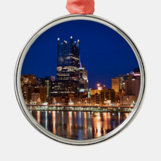 Pittsburgh Skyline at Night Silver-Colored Round Decoration