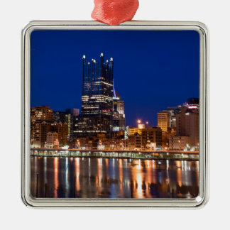 Pittsburgh Skyline at Night Silver-Colored Square Decoration