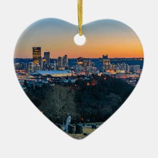 Pittsburgh Skyline at Sunset Ceramic Heart Decoration