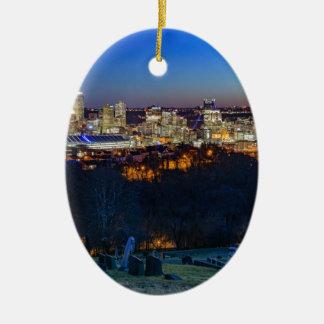 Pittsburgh Skyline at Sunset Ceramic Oval Decoration