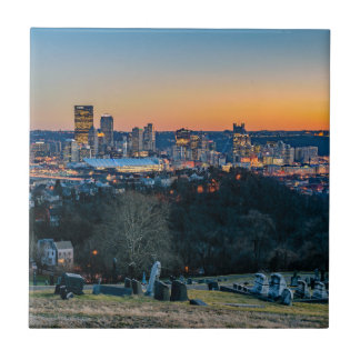 Pittsburgh Skyline at Sunset Ceramic Tile