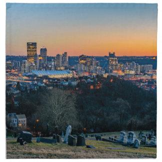 Pittsburgh Skyline at Sunset Napkin