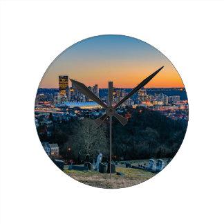Pittsburgh Skyline at Sunset Round Clock