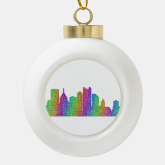Pittsburgh skyline ceramic ball decoration