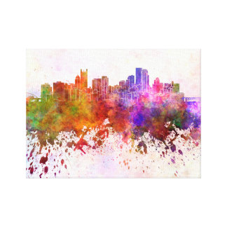 Pittsburgh skyline in watercolor background canvas print