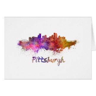 Pittsburgh skyline in watercolor card
