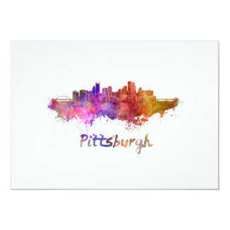 Pittsburgh skyline in watercolor card