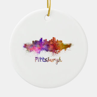 Pittsburgh skyline in watercolor round ceramic decoration