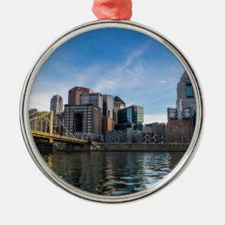 Pittsburgh Skyline Silver-Colored Round Decoration