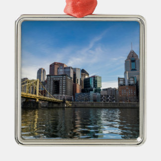 Pittsburgh Skyline Silver-Colored Square Decoration
