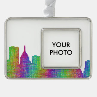 Pittsburgh skyline silver plated framed ornament