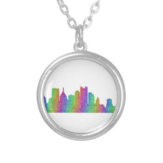 Pittsburgh skyline silver plated necklace