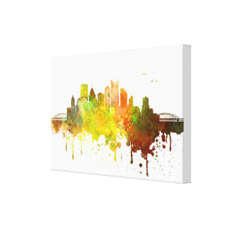 Pittsburgh Skyline Watercolor print on canvas