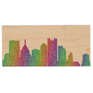 Pittsburgh skyline wood USB 3.0 flash drive