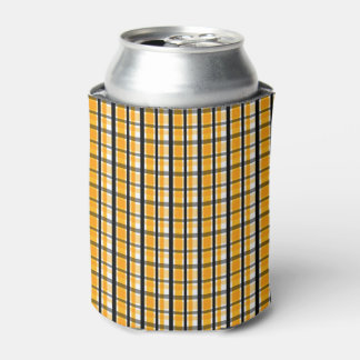 Pittsburgh Sports Fan Yellow Gold Black Plaid Can Cooler