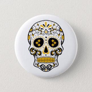 Pittsburgh Sugar Skull 6 Cm Round Badge
