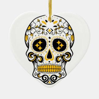 Pittsburgh Sugar Skull Ceramic Heart Decoration