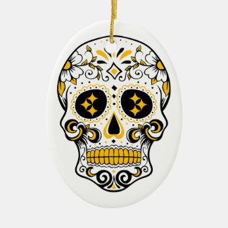 Pittsburgh Sugar Skull Ceramic Oval Decoration