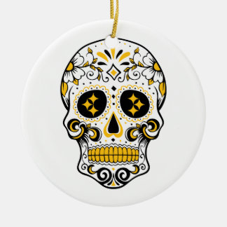 Pittsburgh Sugar Skull Round Ceramic Decoration