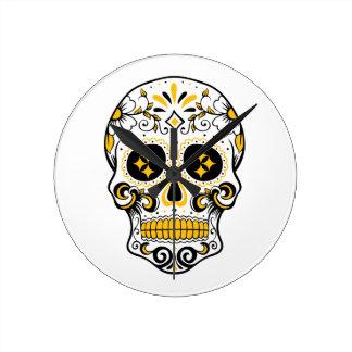 Pittsburgh Sugar Skull Round Clock