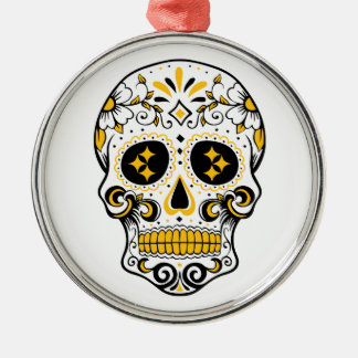 Pittsburgh Sugar Skull Silver-Colored Round Decoration