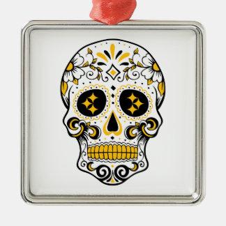 Pittsburgh Sugar Skull Silver-Colored Square Decoration