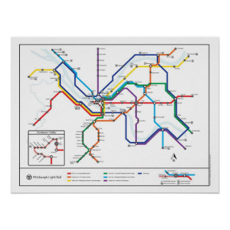 Pittsburgh Transit Map Poster