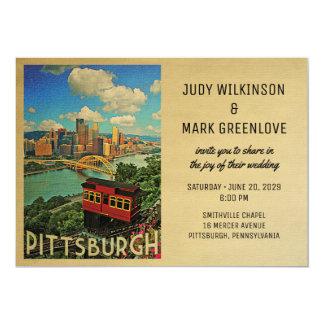 Pittsburgh Wedding Invitation Vintage Mid-Century