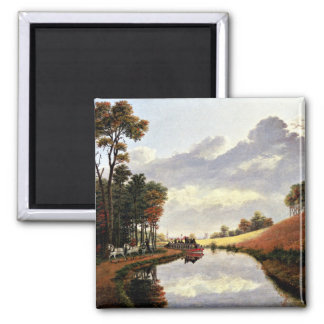 Pittsford on the Erie Canal painting Square Magnet