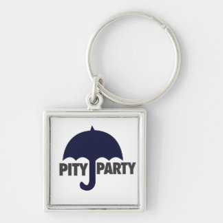 Pity Party Silver-Colored Square Key Ring